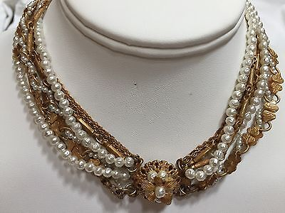 Vintage early MIRIAM HASKELL Style 7-strand Baroque Pearl & Gold Chain Necklace