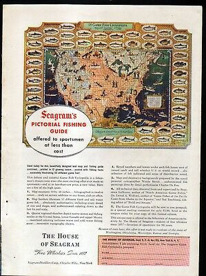 1940's THE HOUSE of SEAGRAM AD -- PICTORIAL FISHING GUIDE