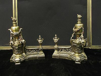 Antique Louis XVI Solid Brass Fireplace Andirons Chenets Wm H Anderson NY