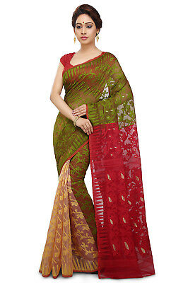Jamdani Green/Red/Beige Bollywood Handloom India Fancy Party Wear Saree JM2082