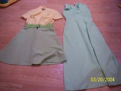 2 Vintage Retro 1960's 1970's Polyester Dresses, 2Jackets and 1 pair of pants