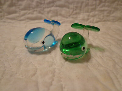 Pair Small Glass Whales One Blue One Green USED