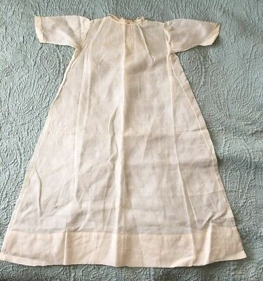Simple Ivory Thin Cotton Christening Baptism Gown Dainty Embroidering Vintage