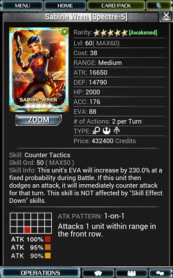 Star Wars Force Collection SWFC - 5* Sabine Spectre 08/15 Skill50