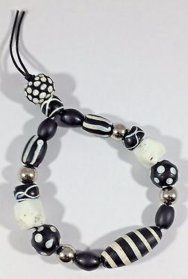 Old Vintage Antique Venetian Glass African Trade Beads Black White