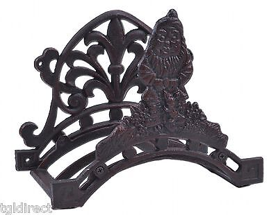 """Garden Hose Holder Gnome & Bunny Distressed Red Cast Iron Hanger Reel 10.25"""" W"""