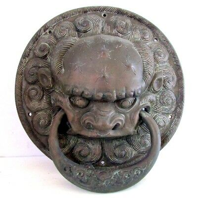 Stunning Large Heavy Antique Chinese Bronze Foo Lion DOOR KNOCKER Early Rare
