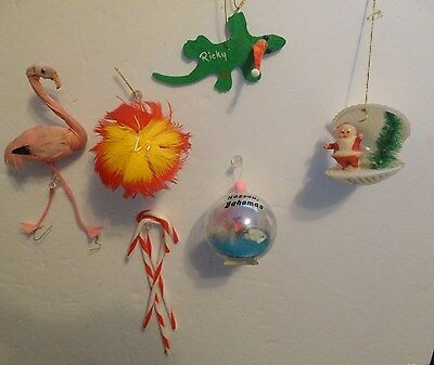 LOT OF Vintage 1970'S CHRISTMAS ORNAMENTS FROM WARM WEATHER LOCALS