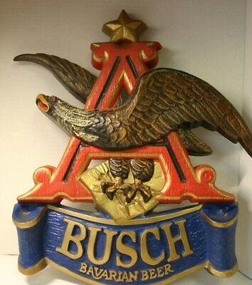 "Vintage Plaque Anheuser Busch Bavarian Beer Sign Flying Eagle Over ""A"" & Banner"