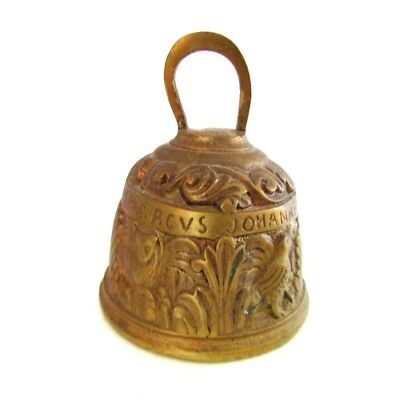 Antique European Gilt Bronze Table Bell With Saints Carving 19th C