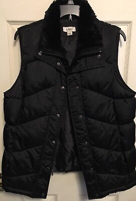 Cato Womens Size L Black Front Button & Zip Up Puffy Vest *Nice!