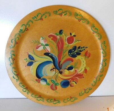 """VTG Hand Painted Rosemaling 12"""" Decorative Floral Scandinavian Wood Tole Plate"""