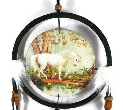 "6.5"" Unicorn By The Pond Dream Catcher With Beads,Fur & Feathers Wall Decoration"