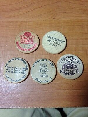 Lot of 5 Wooden Nickel tokens Wooden Coin PA TX 1980s