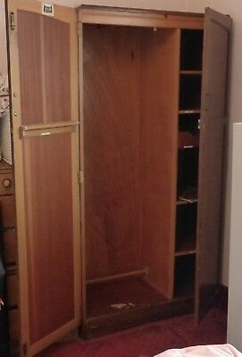 vintage Homeworthy Fitrobe dark brown wardrobe with fitted interior