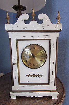 Mantle Clock Shabby Cottage Chic Wood Painted White Brass  Antique Style