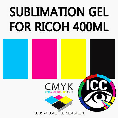 Ink-Pro Subli-Gel Sublimation Gel Ink Set For All Ricoh Gel Printers 400Ml Dye
