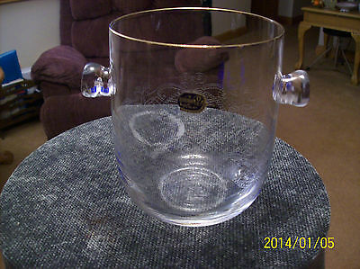 Ice Bucket  Beautiful Etched Vintage Bohemian Glass Made In Czech Republic