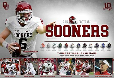 2017 Oklahoma Sooners Schedule Football Poster Ou Lincoln Riley
