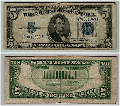 1934D $5  Silver Certificate Blue Seal Great Piece Of History Lot J741