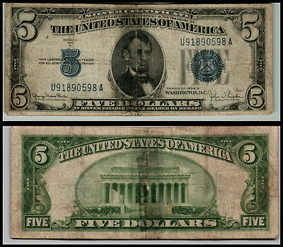 1934D $5 Great Silver Certificate Blue Seal Great Piece Of History V70