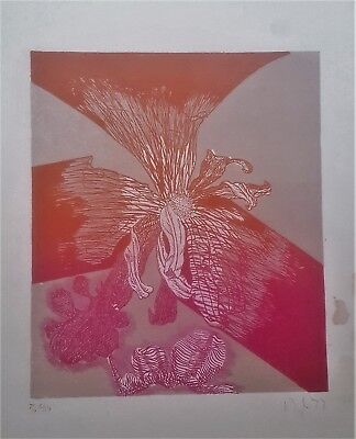 Cuban Art. Lithography by Reglo Guerrero. Untitled, 1977. Very limited edition.