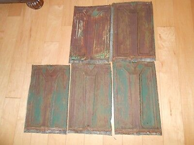 5 Vintage Metal Roofing Shingles Old General  Store rusty green paint, embossed