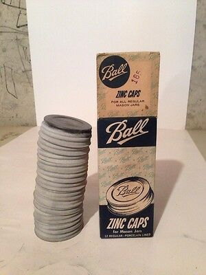 Set Of 12 Vintage New Old Stock Ball Mason Jar Zinc Lids In Box