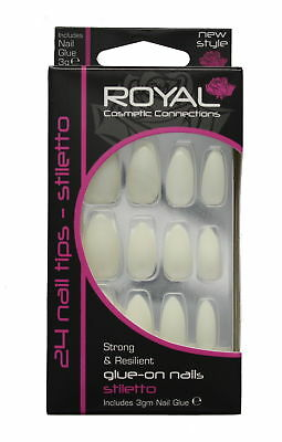 Royal 24 Glue-On Strong & Resilient Stiletto Nail Tips