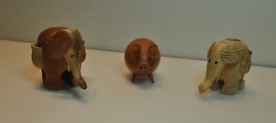 2 Wood Carved Elephant Toothpick Holders and a Carved Pig