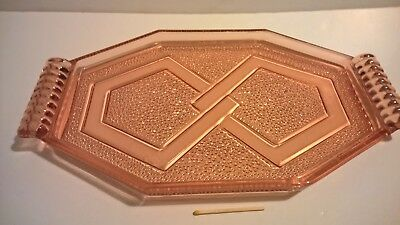 Vtg classic 30s original Sowerby Art Deco pressed orange glass dresser tray dish