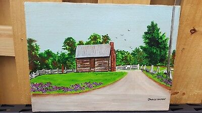 """Original Acrylic Painting on Canvas - """"Country Cabin"""" by Jackie Holmes"""
