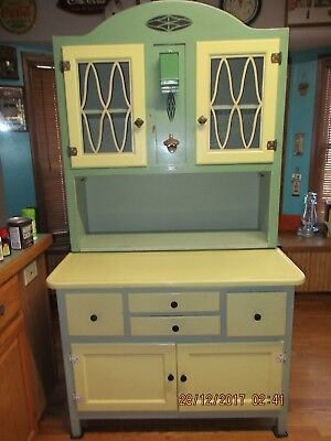 Vintage Painted Green & Yellow Hoosier Style Cabinet