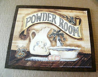 9x11 Rustic country wood Victorian Powder Room Bathroom retro Bath Sign