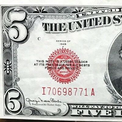 1928 F $5 United States Note, Five Dollar Bill Extremely Fine & Crisp