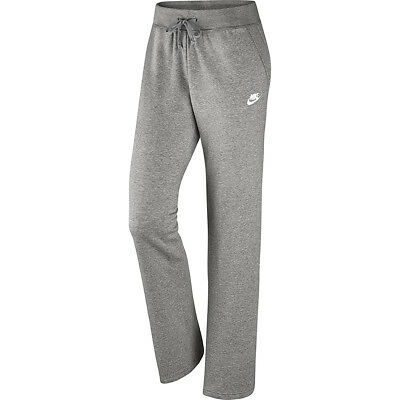 Nike Womens Standard Fit Open Hem Fleece Sweat Pants Grey New