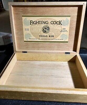 Vintage Wood Cigar Box 'Fighting Cock Texas Red'