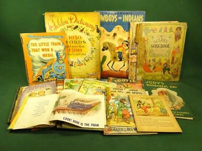 LOT OF VINTAGE 1930s-50s CHILDRENS PICTURE BOOKS EPHEMERA ART SCRAPBOOK TOOTLE +