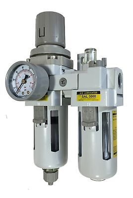 PneumaticPlus SAU3010M-N03G 2 Piece Compressed Air Filter Regulator Lubricator