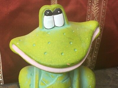 HAPPY FROG Lilly Pad Pond Garden Indoor Statue SMILING SITTER Clay Art Pottery