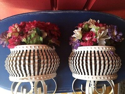 Antique Floral Wall Scones Wrought Iron White Bird Cage Set of 2 ~~ 13 X 7 #