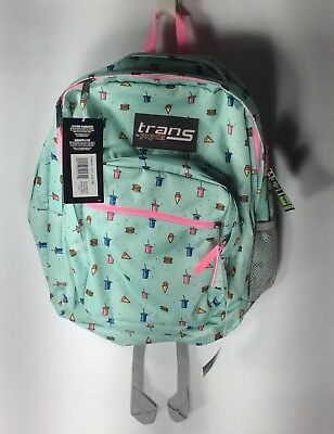 "NWT Trans By Jansport 17"" Supermax Munchies Blue Pink School Backpack Pizza Soda"