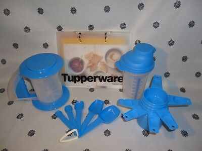 Tupperware Baking Set Measuring Cups & Spoons Sifter Shaker Recipe Cards New
