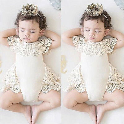Newborn Baby Girls Lace Flower Romper Bodysuit Jumpsuit Outfit Sunsuit Playsuit
