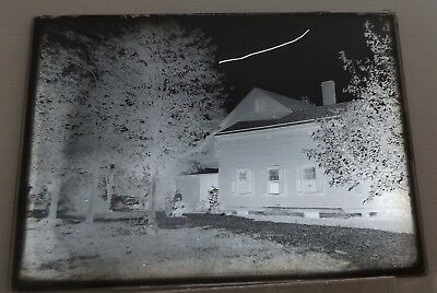 "Antique Glass Backyard & Back of House with 3 People circa 1900 5""x7"""