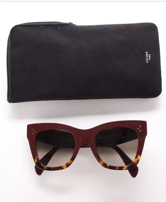 Celine CATHERINE CL 41090/S maroon burgundy Havana Brown tortoise Sunglasses