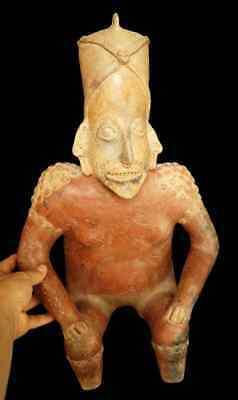 Exceptional JALISCO Seated Male Figure, Precolumbian, Mayan Aztec MAKE AN OFFER