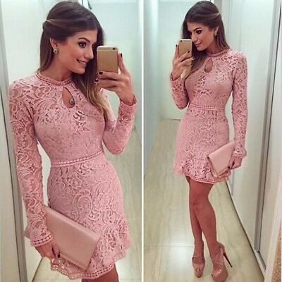 Fashion Women Sexy Pink Hollow Lace Long Sleeve Slim Dress Party Evening Dress