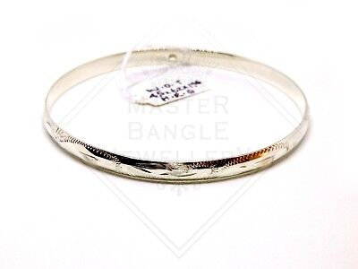 Half Round 925 Sterling Silver Bangle (Engraved or Plain)