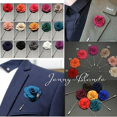 Men's Flower Shape Lapel Stick Brooch Pin for Prom, Party, Wedding Boutonniere